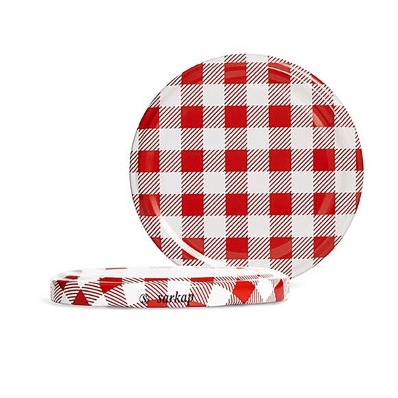 SarkapHygienic Packed 10 PCs Twist-off Caps - Red Plaid - 82mm